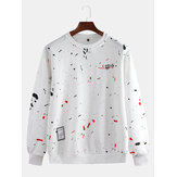 Mens Casual Crew Neck Dot Printing Overhead Sweatshirt