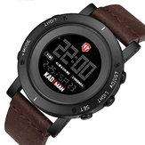 KADEMAN K010 Повседневные Мужские Часы Водонепроницаемы Светящиеся Неделя Дата Дисплей LCD Кожаный ремешок Цифровые часы