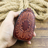 Men Genuine Leather Vinatge Retro Wallet Car Key Case Bag