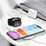 USAMS US-CD119 Çift Bobinler 10 W Qi Kablosuz Şarj Telefon Şarj Telefon Kulaklığı Qi özellikli Akıllı Telefonlar için Şarj İzle Şarj Apple AirPods Pro Apple Watch Serisi 1 2 3 4 5