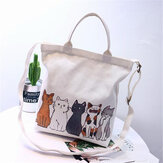 Dames Cartoon Katten Bedrukte canvas draagtas Handtas Strandtas Schoudertas