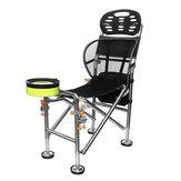 Cadeira dobrável portátil ao ar livre de aço inoxidável assento de pesca fezes ajustável levantável 22 cm Camping BBQ