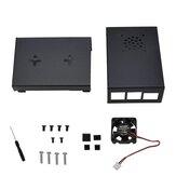 Raspberry Pi 4用の黒いアルミニウム合金ケース保護シェル金属エンクロージャー+黒/スライバーヒートシンク+冷却ファンDIYキット