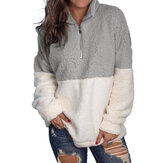 Women Fuzzy Fleece Long Sleeve Zip Up Pullover Sweatshirt