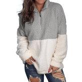 Damska bluza Fuzzy z długim rękawem i zamkiem