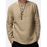 Charmkpr Hombre Loose Long Sleeve Cotton Linen Tops Transpirable Antibacterial vendimia Camisetas