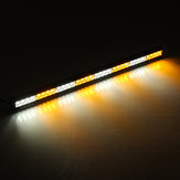 36Inch 32 LED Emergency Warning Light Bar Traffic Advisor Strobe Lamp Amber+White Dual Color 12V for Ambulance Truck