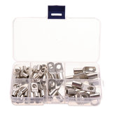 60Pcs Silver SC Bare Terminals lug Tinned Copper Tube Lug Ring Seal Battery Wire Connector Bare Cable Crimped/Soldered Terminal Kit