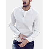 Mens Crew Neck Solid Color Long Sleeve Casual Tops Shirts
