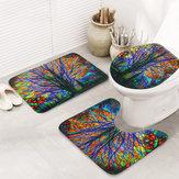 3 stücke weihnachten Colorful baum matte bad teppich rutschfeste deckel toilettenabdeckung badematte sockelteppich