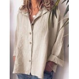 Women Casual Button Turn-Down Collar Solid Blouse