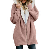 Women Solid Color Long Sleeve Zipper Casual Coats