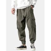 Bolsillos de cintura elásticos casuales para hombre color puro recto Pantalones