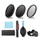 ND2/4/8 49/52/55/58/62/67/72/77mm Lens Filter Storage Bag Lens Hood Cap Blower Brush Kit Set