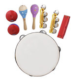 8 Piece Set Orff Musical Instruments Hand Bell Sand Hammer Castanets Harmonica Shake Rattle Educational Tools Rhythm Kit for Kids Toddlers
