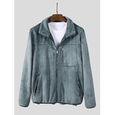 Mens Plush Pure Color Chest Pocket Long Sleeve Casual Jacket