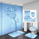 3D Printing Romantic Water Flower Waterproof Bathroom Shower Curtain Toilet Cover Mat Non-Slip Floor Mat Rug Bathroom Set