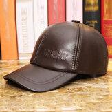 Men Vintage Genuine Leather Baseball Caps