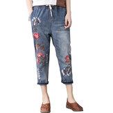 خمر التطريز مطبوعة عالية الخصر جينز عادية للنساء