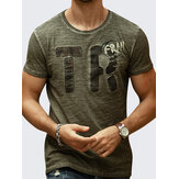 Summer Fashion Men's Letter Printing Slim Fit Algodão T-shirt Casual O-Neck Wash-and-wear Tees