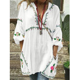 Plus Size Women Floral Print V-Neck Loose Casual Blouse