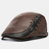 Collrown Men's Artificia Leather Beret Caps Casual Newsboy Cap Adjustable Warm Hats