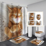 Kedi Baskı Su Geçirmez Banyo Duş Perdesi Tuvalet Kapağı Mat Seti
