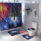 3PCS Cuarto de baño Alfombra Cortina de ducha Cuarto de baño Alfombrillas Impermeable Decoración de baño