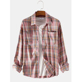 Mens Tide Brand Ins New Long Sleeved Plaid Shirts