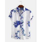 Heren porselein bloemenprint korte mouw ontspannen shirts