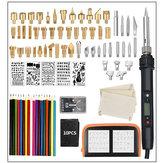 94Pcs LCD Wood Burning Pen Tools Kits Soldering Stencil Iron 60W Pyrography Solder Iron Set