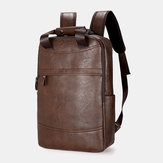 Men Large Capacity Faux Leather Backpack For Outdoor