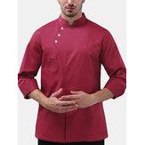 Hommes à manches longues boutons de couleur unie Chemises de vêtements de travail de chef