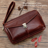 Men Genuine Leather Large Capacity Clutches Bags Phone Bag Card Holder