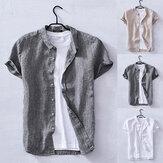 T-shirt da uomo in cotone e lino manica corta casual allentato fit camicie da nonno top tee