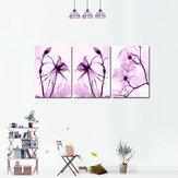 Miico pintado a mano tres combinaciones decorativas pinturas botánicas flores púrpuras arte de la pared para la decoración del hogar