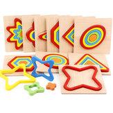 形状認識ボードジオメトリジグソーパズル木製キッズ教育学習玩具