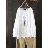 Kadınlar Beyaz Hollow Out Pamuk Gevşek Casual Bluz