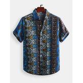 Erkek Vintage Etnik Stil Baskılı Günlük Moda Gömlek