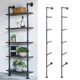 2Pcs 5-Tiers Industrial Retro Wall Mount Iron Shelf Storage Shelving Bookshelf