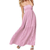 Chique dames strapless ruches gehaakte casual maxi-jurk
