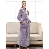 Long Sleeve Flannel Loose Robes Nightgown