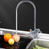 1/4'' 304 Stainless Steel Reverse Osmosis Three Forks Mixer Tap 360 Degree Swivel Spout Gooseneck Drinking Water Filter Faucet