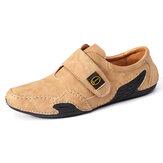 Menico Men Couro Genuíno Costura à mão Soft Sapatos casuais