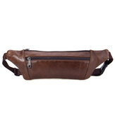Men Leather Waist Bag Multi-Pockets Storage Bag Leisure Shoulder Bag