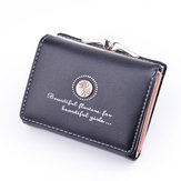Women PU Leather Floral Short Solid Buckle  Wallet Mini Portable Credit Card Purse