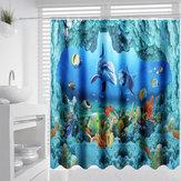 Ocean Dolphin Deep Sea Cuarto de baño Cortina de ducha Impermeable Juego de alfombrillas 180x180cm