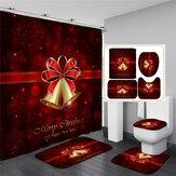 180x180cm Boog Kerst Douchegordijn Voetstukdeken + Deksel Wc-hoes Badmat