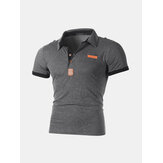 Patchwork business slim katoenen golfshirt
