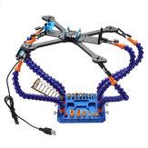 URUAV Tophand Six Bras Station De Soudage Outil Multi-fonctionnel w / USB Ventilateur XT30 XT60 Plug Pad pour RC Drone